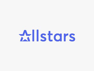 Allstars app abstract vector ui web icon a letter a star negative space logo negative space branding stars wordmark minimal typography modern design logo star logo
