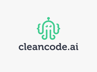 CleanCode branding abstract vector brackets design software logo icon modern bot clean code octopus