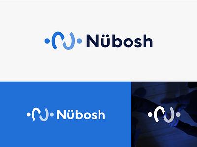Nubosh consumer business simple comunication person hand shake n letter n connect technology branding icon minimal app modern design logo people