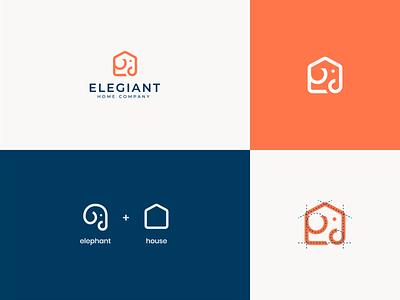 Elephant + House ratio inspiration line property real estate house home elephant animal abstract minimal logo