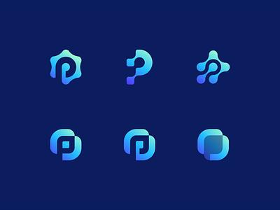 P Logo Explorer gear block blockchain digital negative space biotech biology connection lettermark letter