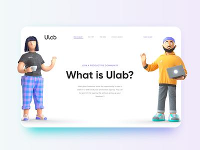 Ulab website design substance painter marvelous designer zbrush octane c4d 3dcharacter characterdesign character 3d web design website ui design ui
