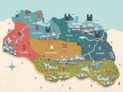 Skyrim Map game gaming adventure nature country city infographic flat vector elder scrolls map skyrim