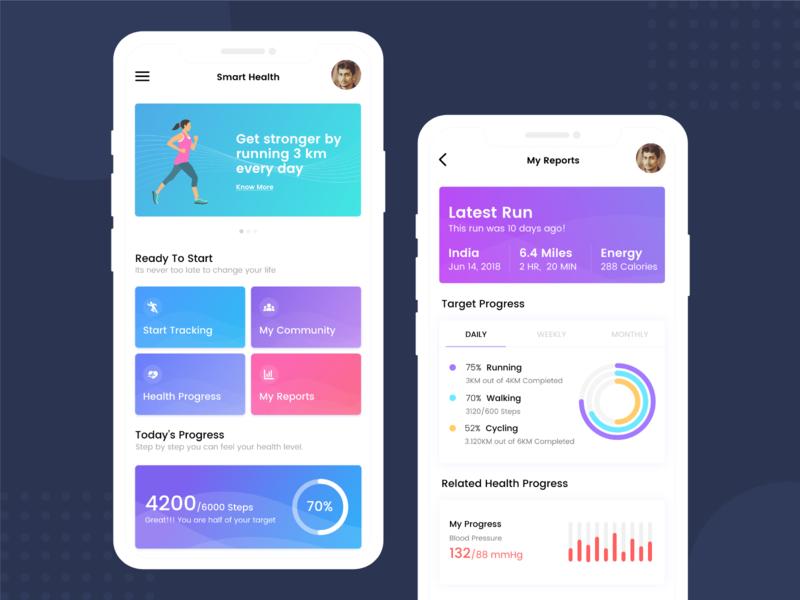 Fitness Tracker App flat design health concept interface graphics mockup iphone x health care typography running app visual design mobile app uidesign fitness app ui uiux