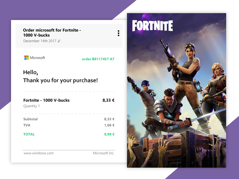 Email Receipt- Daily Ui 17 17 daily ui email receipt receipt purple invoice green game fortnite ui email clean