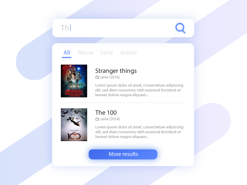 Search hint - Daily ui 22 serie search interface blue movie app stranger things search bar daily ui challenge daily ui clean 22