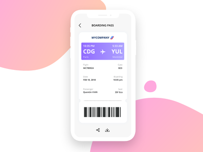 Boarding pass - Daily ui 24 mobile app interface iphone x daily ui challenge daily ui flight boarding boarding pass clean 24