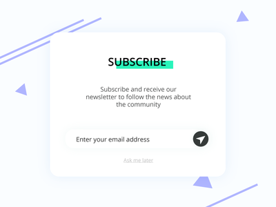 Subscribe - Daily Ui 26 green challenge registrer email overlay subscribe pop up ui daily ui 26