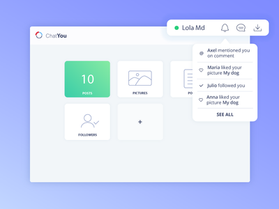 Dropdown menu - Daily ui 27 social app app 27 minimalist green clean dashboard menu dropdown menu daily ui ui daily ui challenge