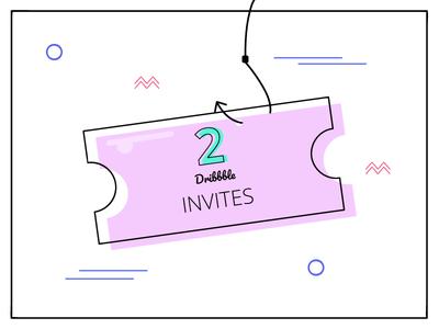 2 dribbble invites purple pink green memphis invite dribbble invite ticket 2