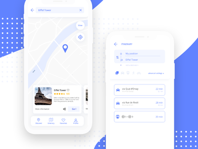 Maps - Daily ui 29 daily ui challenge eiffel tower travel search maps itinerary interface ui clean blue app 29