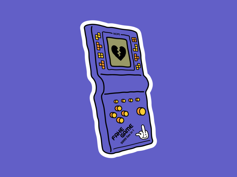 Fake game toy tetris 90s love console charm icon gameboy sticker video game simple drawing illustration illustrator creative graphic design digital color 2d vector