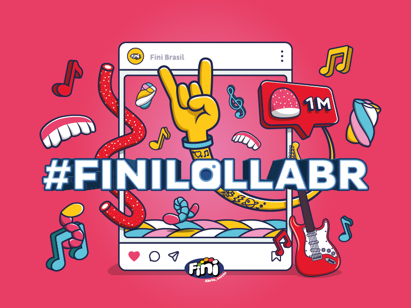 #finilollabr lollapalooza instagram social media advertising candy branding typography icon logo illustrator illustration art vector graphic design drawing digital design creative color 2d