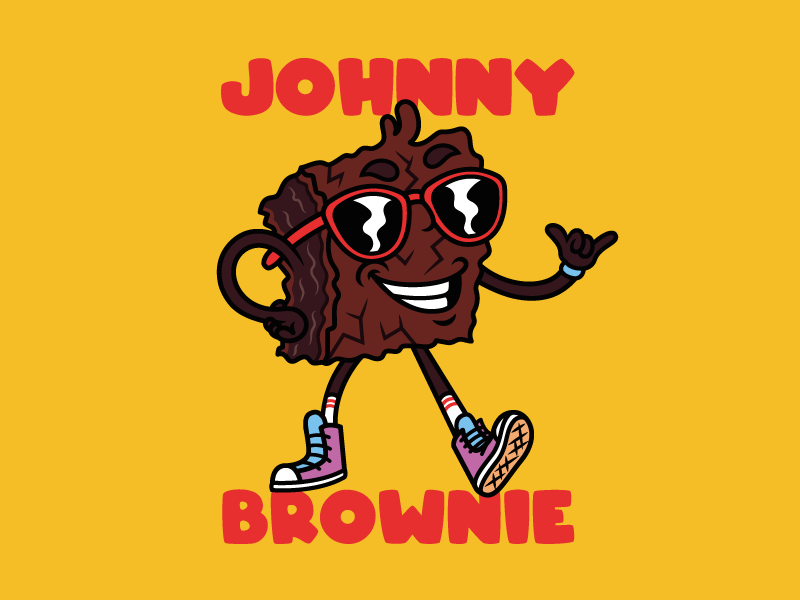 "Johnny Brownie ""just hanging around"" smile sneakers sunglasses brownie character cool mascot cartoon typography art illustrator illustration drawing vector graphic design digital color design creative 2d"