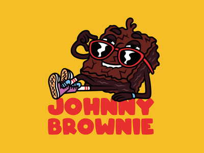 """Johnny Brownie """"how you doing"""" cool sunglasses sneakers smile mascot brownie character cartoon typography illustrator illustration art drawing vector graphic design digital color design creative 2d"""