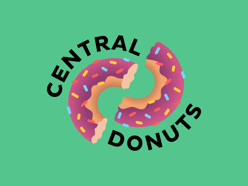 Central Donuts logo store candy pastries logotype illustrator visual identity branding donut shop typography logo simple illustration vector graphic design digital creative color 2d design