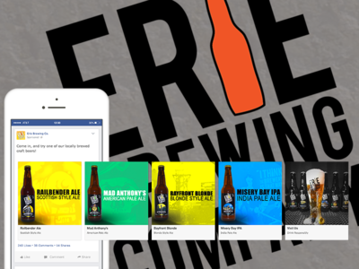Erie Brewing Co. Facebook Carousel Ad facebook marketing advertising graphic design