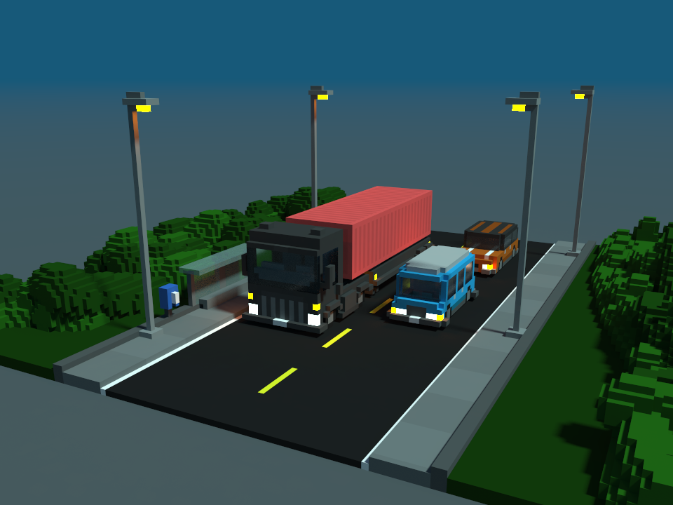 Road 3d isometric design truck car voxel magicavoxel