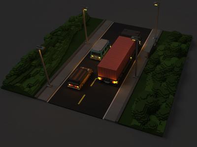 Same road (at night)