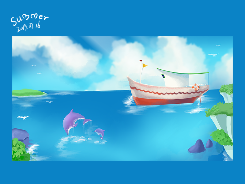 Illustration islet scenery dolphin boat sea illustration