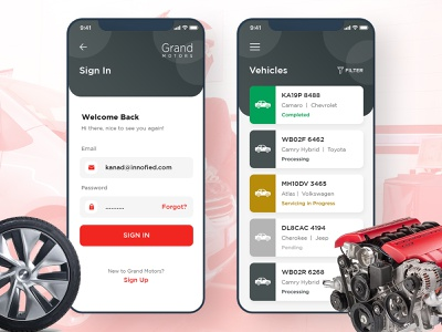 Car Servicing App task management app ios app android app design business app mobile app car service