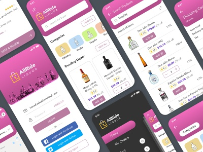 AllRide Liquor ui logo design android app ux design business app food app e-commerce app innofied customer app ios app mobile app liquor delivery app