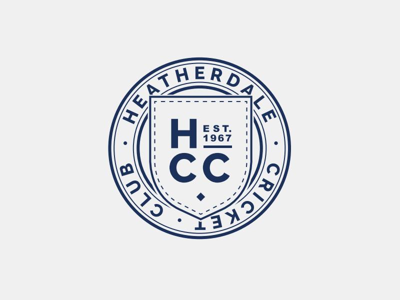 Heatherdale Cricket Club Logo circle shield blue logo cricket