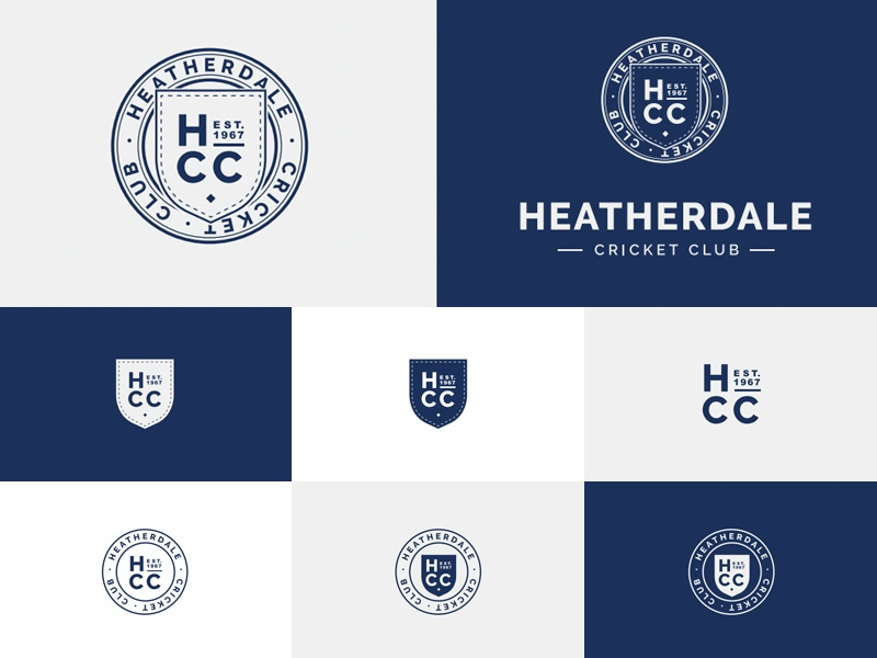Heatherdale Cricket Club Logo Variations circle shield blue logo cricket