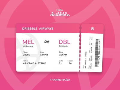 One Way Ticket To Dribbble! pink ticket debut dribbble