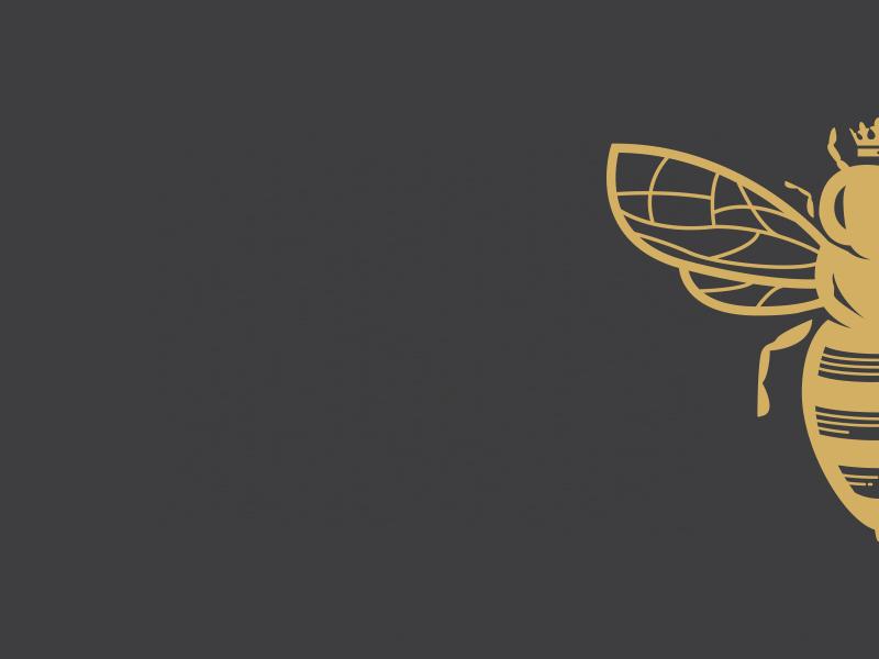 Dark Queen Cheesecakes Logo logo charcoal gold bee