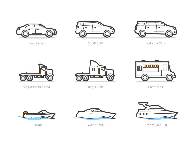 Steam Wash: Big Icons Pack yacht boat foodtruck truck suv car orange mobile app vector illustration ui icon