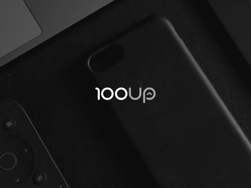 100UP Web Agency Logo company minimal branding design typography font web agency studio vector logo