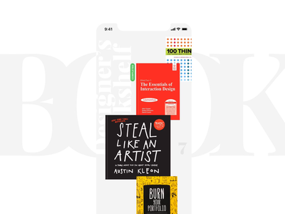 Designers Bookshelf modern typography 3d cover text read adobexd madewithadobexd white clean minimal stack bookshelf book interactive mobile app design animation ui