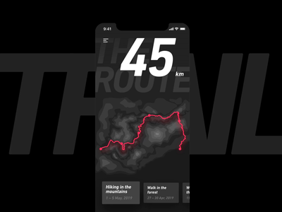 Trail activity expedition interaction sport hiking forest mountain distance map travel trail route dark clean ux mobile app design animation ui