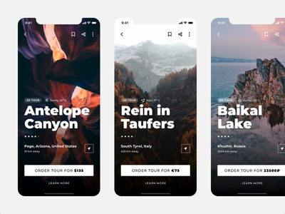 Tour App clean design typography ux ui mobile app amination route place minimal buy screen card order guide tour
