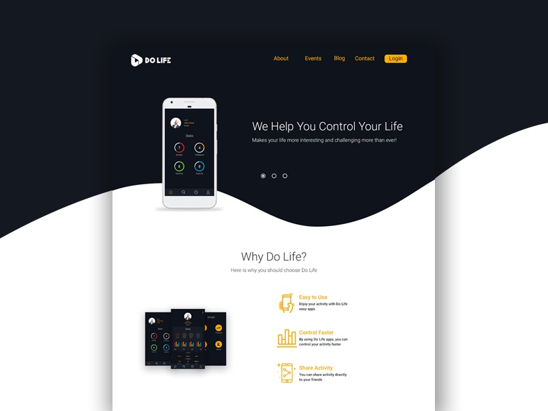 Do Life Landing Page flat design startup android uiux design mobile mobile apps website landing page wireframe uiux web design web