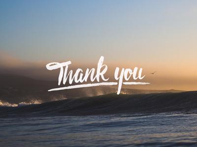 Thankyou custom hand script digital thanks