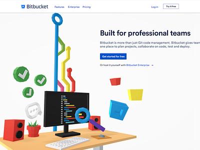Bitbucket 3d Desktop hero 3d vr