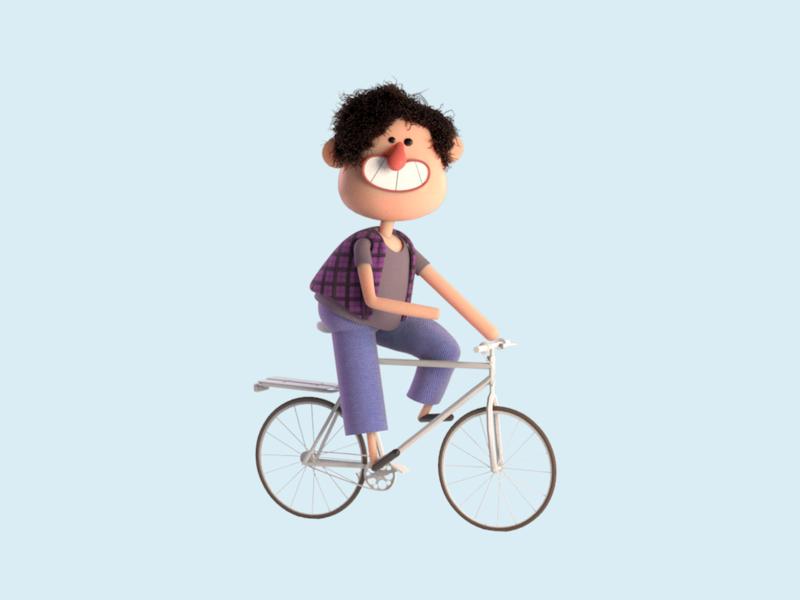 Illustration for Bike & Scooter Rental App cartoon illustration bicycle riding persona retro hero image bike render colors blender character character design 3d illustration 3d