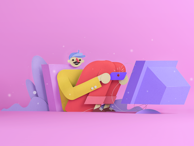 hello dribbble! c4d 3d character illustration paper cinema 4d 3d illustration