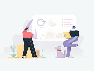 Illustration for UIG Studio – MVP page flower people dog research statistics graphics drawing design character illustration