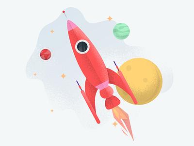 Illustration for UIG Studio – MVP page travel space stars planet rocket illustration drawing design character