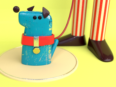 Walking With Dog character art animal dog 3d coloful cartoon illustration c4d character