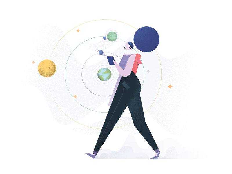 Illustration for UIG Studio – MVP page girl drawing phone walking planet earth space flat vector illustration