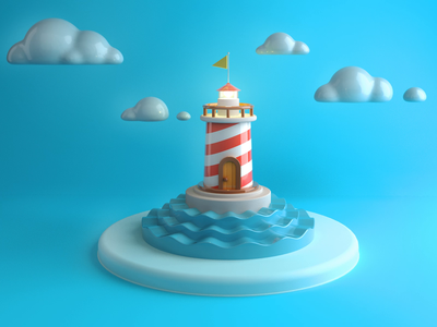 Lighthouse coloful 3d illustration clouds sea lighthouse c4d waves