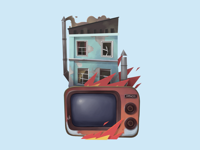 The end home smoke paper end fire tv drawing coloful cartoon illustration