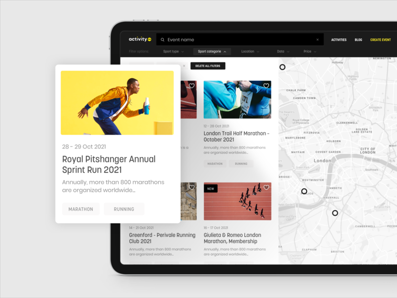 Activity.me – Event Search clean activity design logo web ux ui map running sport event search