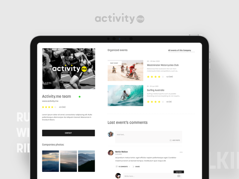 Activity.me – Organisers page website ux ui team running design search event