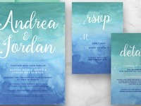 Wedding Invitation / Watercolor Ombre Theme
