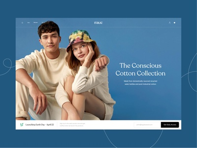Consious cotton collection Landing page launching hero section fashion branding minimal website ecommerce design ux landing page ui